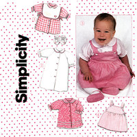 Infants Layette Pattern Uncut Simplicity 6257 1980s Baby Layette Dress, Gown, Blouse Top Jumper Baby Booties and Bib Vintage Sewing Patterns