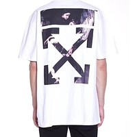 OFF WHITE Trending Religious Pattern Print Short Sleeve T-Shirt Top