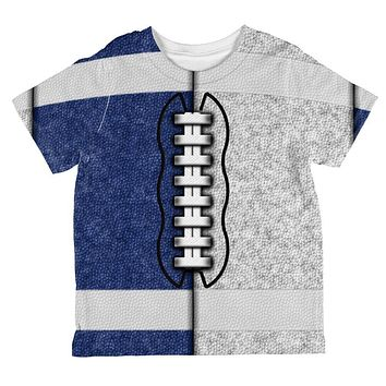 Fantasy Football Team Blue and White All Over Toddler T Shirt