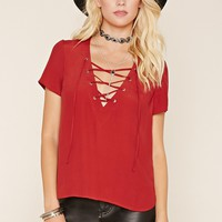 Crinkled Lace-Up Top