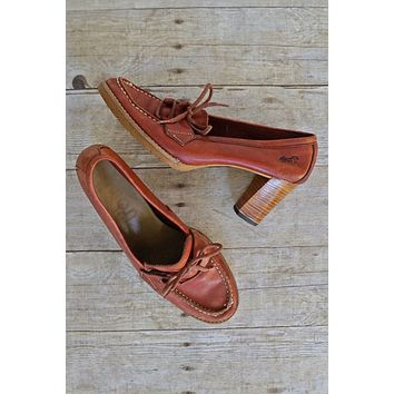 Vintage Whiskey Leather  Lace-Up Loafers | 9.5