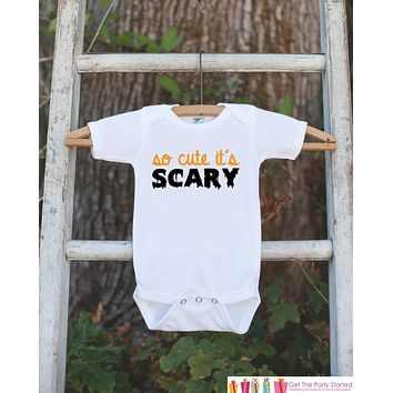 Kids Halloween Outfit - So Cute It's Scary - Baby's 1st Halloween Onepiece - Halloween Bodysuit for Baby Boy or Girl - 1st Halloween Outfit