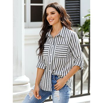 Striped Pocket Front Button Up Blouse