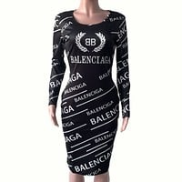 balenciaga Long Sleeve Bodycon Dress