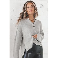 Bonfire Nights Gray Button Up Sweater Top