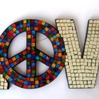 Love Mosaic Mirror Wall Art Hanging with Peace Sign