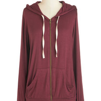 ModCloth 90s Mid-length Long Sleeve Hoodie Layers Well with Others Hoodie in Burgundy
