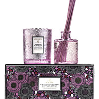 Japanese Plum Bloom Scalloped-Edge Candle & Diffuser Gift Set