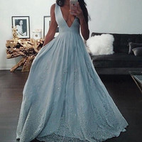 Deep V Neck Long Prom Dresses