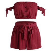 2018 Bikini Set Off Shoulder Button Up Top and Shorts Set Swimsuit Bathing Suit Sexy Women High Waist Swimwear Swimming Suits