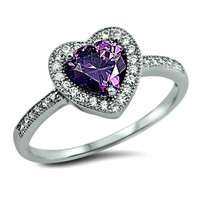 .925 Sterling Silver Purple Amethyst Halo Heart Engagement Ring Ladies size 4-10