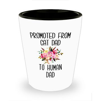 Promoted From Cad Dad To Human Dad Shot Glass New Dad Baby Shower Shot Glasses for Him
