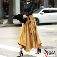 New European Women Spring Black Yellow Solid Skirt Elastic Waist A Line Elegant Fashion Design Mid Calf Length Girls Style 2234