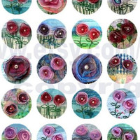 Half inch circles flowers collage sheet digital download