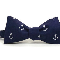 Anchors on navy, Nautical bowtie, navy blue anchors, navy bowtie, mens bowtie, bow tie, sailor bowtie, nautical mens, nautical accessory