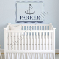 Baby Boy Name Decal With Nautical Ship Anchor And Polk Dot Border Personalized For Baby Nursery Or Boys Room Vinyl Wall Art 22H x 30W BN030