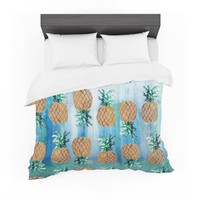 "Nikki Strange ""Pineapple Beach"" Blue Brown Featherweight Duvet Cover"