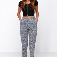 Jogger Memory Beige and Blue Print Pants