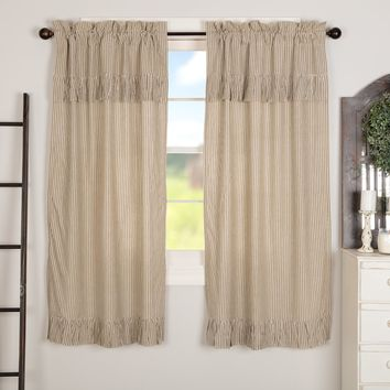 Owens Mill Ticking Stripe Short Panel Curtains