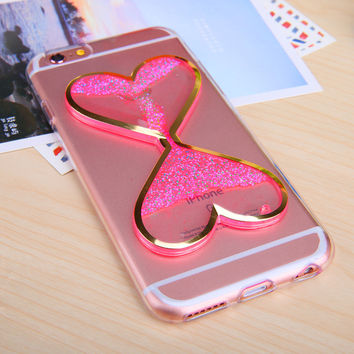 For Iphone 6 6S 6 Plus Heart shaped Hourglass Liquid Quicksand Noctilucent Anti-knock Case Transparent Clear Soft TPU Back Cover