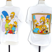 Vintage 80s The Simpsons Say Cheese Family Picture Double Sided T Shirt