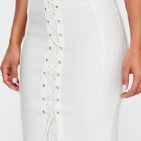 Missguided - White Midi Lace Up Detail Skirt