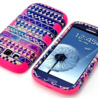MagicSky Plastic + Silicone Tuff Nebula Tribal Pattern Hybrid Case for Samsung Galaxy III S3 i9300 - 1 Pack - Retail Packaging - Hot Pink
