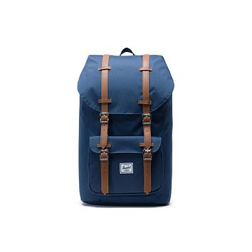 Herschel Supply Co. Little America Navy Tan Synthetic Leather Backpack