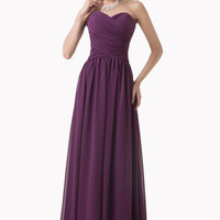 Grace Karin Strapless Purple Chiffon Long Ball Gown Arabia Evening Dresses Prom Party Dress 8 Size US 2~16 CL6273