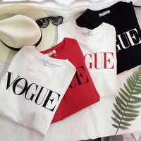 Alphabet Stretch Casual Round-neck Summer T-shirts [11966520659]