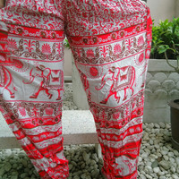 Yoga Red Elephant Pants Harem Boho Printed Design Unisex Casual Elastic Fisherman Hippie Massage Rayon pants Gypsy Thai Handmade Batik women