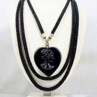 Victorian Necklace, Black French Jet Glass Bead Rope Chain, Whitby Jet Molded Heart Cameo Pendant, Antique 1800s Victorian Mourning Jewelry
