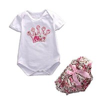 Baby clothing set baby girl romper Floral bloomers Pants 2pcs sports suits newborn kids outfits Princess