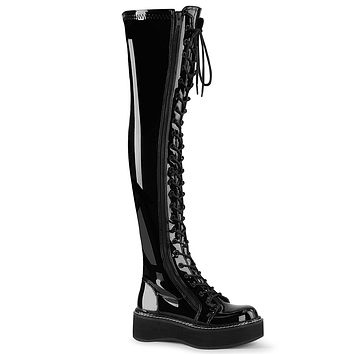 Emily 375 Goth Black Patent Lace Up Thigh High Boots Flat-forms  6-12