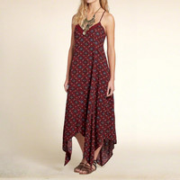 Patterned Handkerchief Maxi Dress