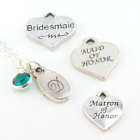 Bridesmaid Personalized Hand Stamped Necklace - Choice of Charm