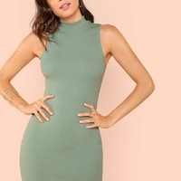 Mock-neck Solid Bodycon Ribbed Dress