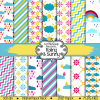 RAINY and SUNNY Digital Paper Pack Scrapbook | Set of 14, JPEG Files | Instant Downloads | Personal & Small Commercial Use