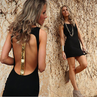 Scoop Backless Sleeveless Bodycon Gold Sequin Patchwork Short Dress
