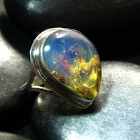 Dominican Blue n Green Clear Amber Big Tear Drop Ring Sterling Silver 925 authentic purple Caribbean fossilized  6g 30ct Size 7.5 OOAK rare