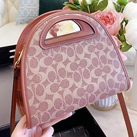 Hipgirls COACH New fashion pattern print leather shoulder bag crossbody bag handbag
