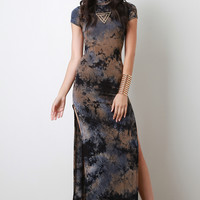 Casual Tie Dye Double Side Slit Maxi Dress