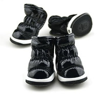 Puppy Dog Shoes Patent Leather Thickening Winter Small Dog Boots, Blue, M