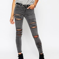 ASOS Lisbon Midrise Skinny Jeans In Slick Grey With Extreme Rips