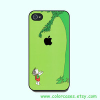 iphone 4 case - with apple logo, cute iphone 4 case, iphone 4S case in plastic or silicone,color in black or white or clear