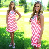Peachy Keen Chevron Dress