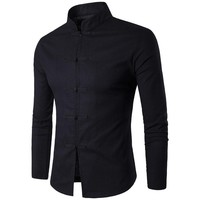 Chinese Tradition Style Men Shirt 2017 New Cotton Male Solid Color Mandarin Collar Business Long Sleeve Casual Shirt