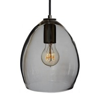 Smoke Hand Blown Glass Orb Pendant Light- Matte Black