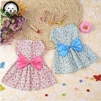 Bruce&Williams Print Princess Dress Dog Clothes With Butterfly Bow Dresses Summer Clothing For Dogs Cat Cachorro DC246