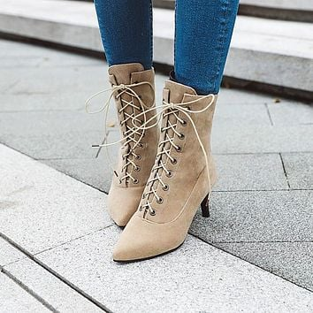 Pointed Toe Lace Up Women's High Heeled Ankle Boots